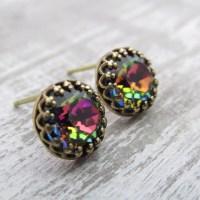 Rainbow Stud Earrings Swarovski Crystal Post Earrings Aurora
