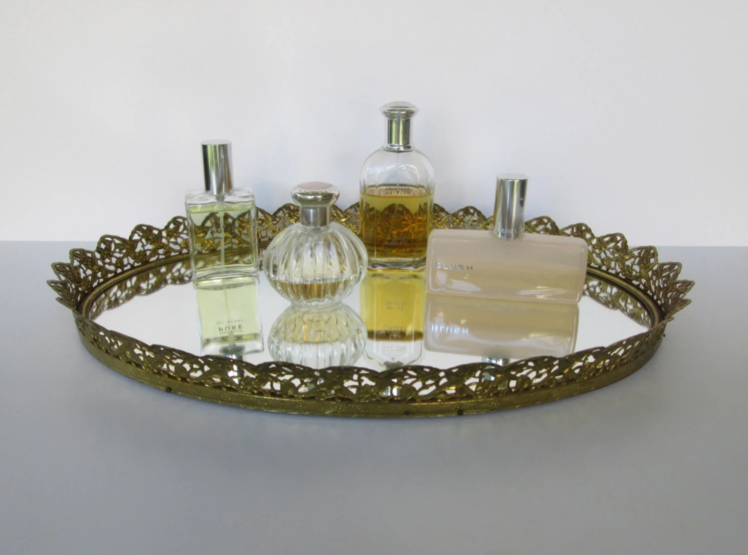 Large Mirrored Gold Rimmed Vanity Tray