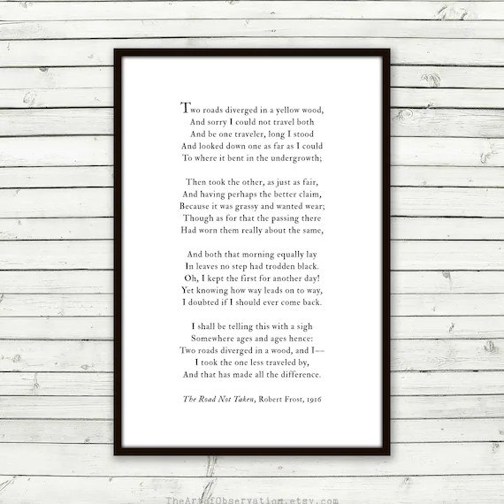 Road Not Taken poem print Robert Frost road less traveled