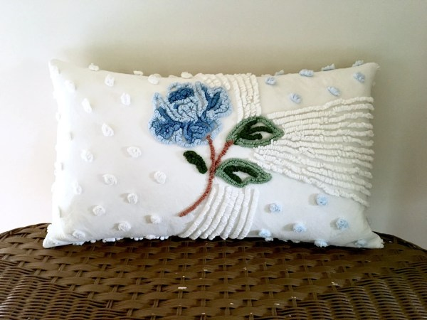 Blue Rose Chenille Pillow Cover 12 X 20 Inches Cottage Chic