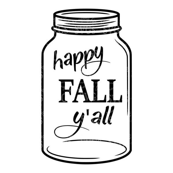 svg happy fall yall mason jar dxf