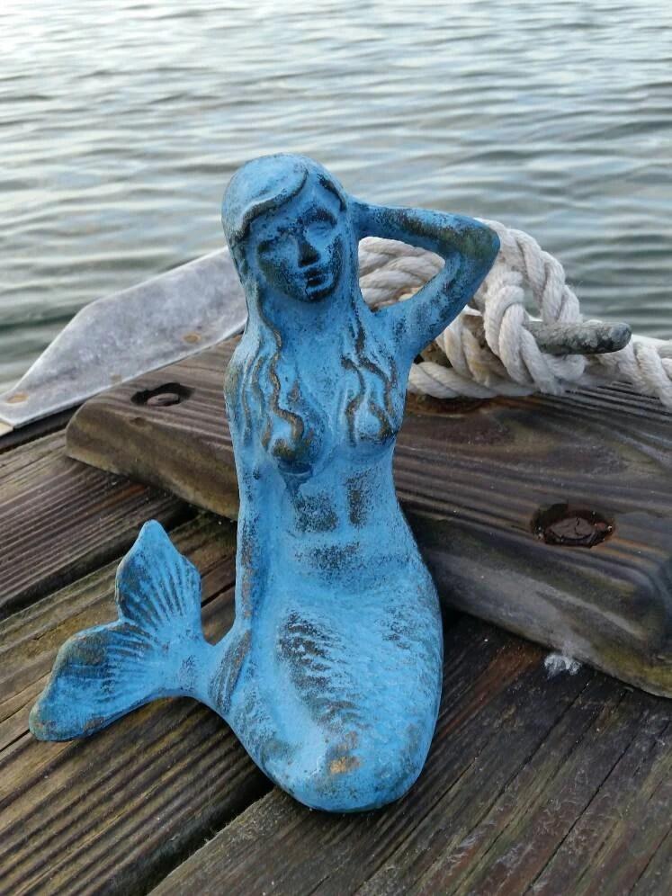 Mermaid Statue Cast Iron Statue Mermaid Nursery Decor