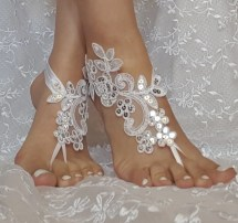 White Champagne Ivory Bridal Ankletbeach Wedding