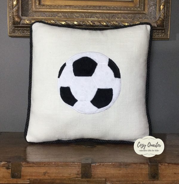 Soccer Appliqu Pillow-minky Pillow With Applique