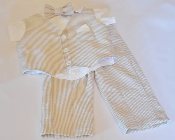 Baby Boys Toddlers Seersucker Suit And Shirt Set. Tan