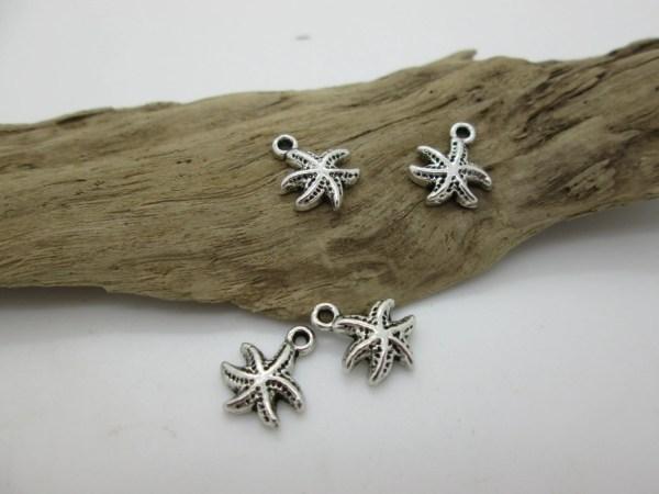 Silver Starfish Charm Tiny Beach 11mm 4