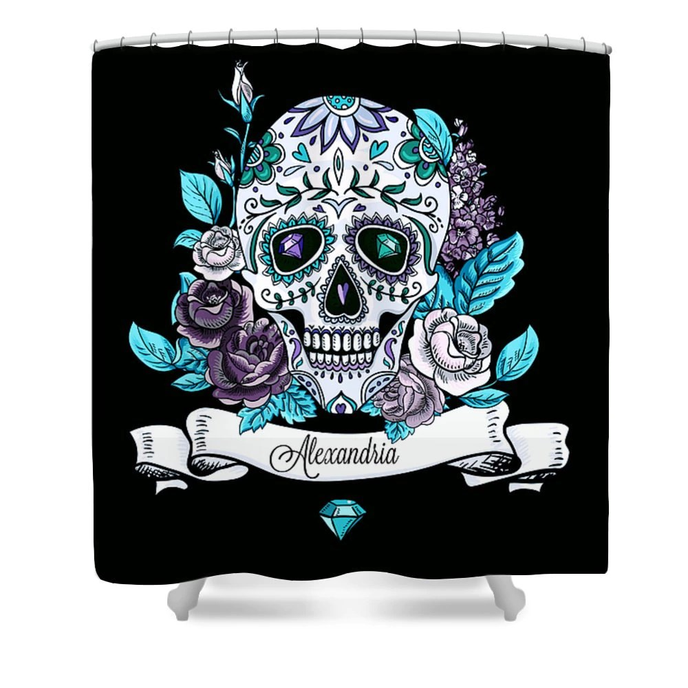Personalized Sugar Skull Shower Curtain Black Lavender Teal
