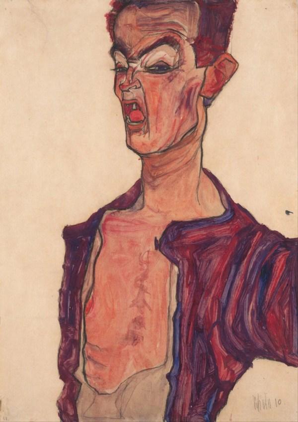Egon Schiele -portrait Grimacing. Fine Art Print Poster