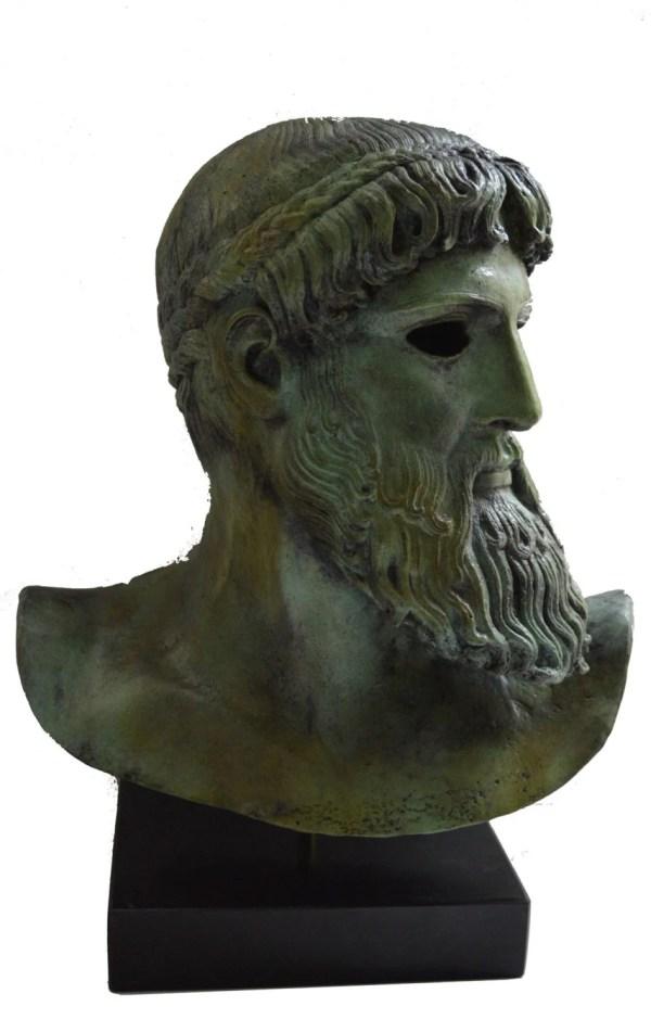 Ancient Greek Bronze Sculpture Zeus Poseidon Real Size Bust
