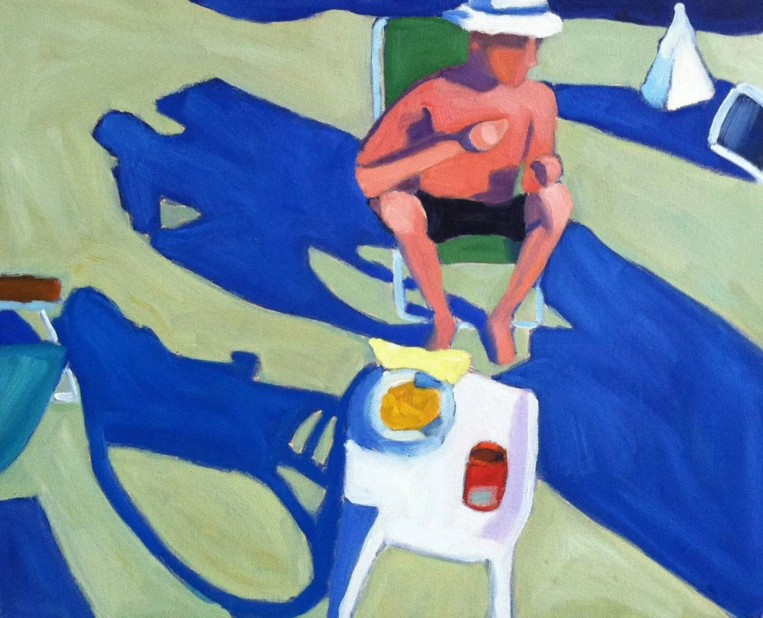 Cape Cod Beach Chair Man In Beach Chair Cape Cod Beach Summer Oil Painting