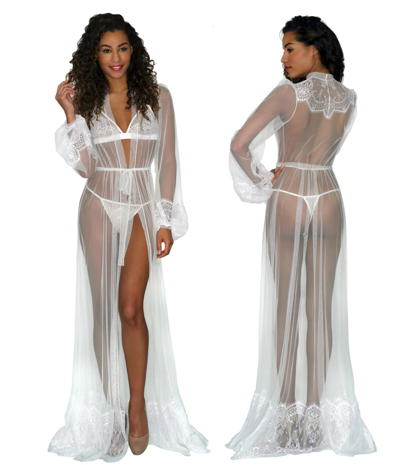 Giselle robe in ivory mesh and lace white sheer seethrough