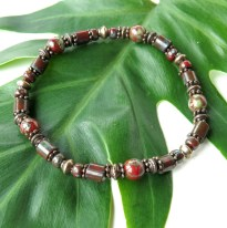 Beaded stretch bracelet - dark red picasso Czech glass beads & copper
