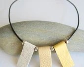 Soft spring sunshine: Leather Necklace with Sterling Silver Beads, Contemporary Geometric Jewellery, Summer Ombre Necklace, Free Gift Wrapping