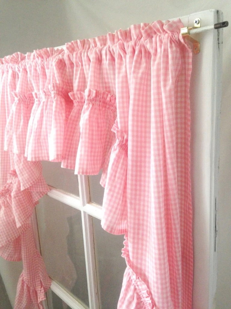 Frilly Ruffled Pink Curtain Swag Country Pink Gingham Trim