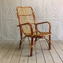Vintage Arm Chair Hanging Cocoon Ikea Rattan Curved Bamboo Cane Franco Albini