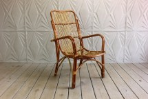 Vintage Rattan Arm Chair Curved Bamboo Cane Franco Albini