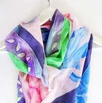 Japanese Silk scarf Hand painted silk scarf Summer scarves