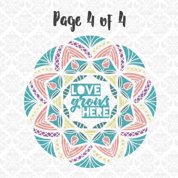 Download Mandala Garden Flower Love Grows Here Intricate Henna SVG DXF
