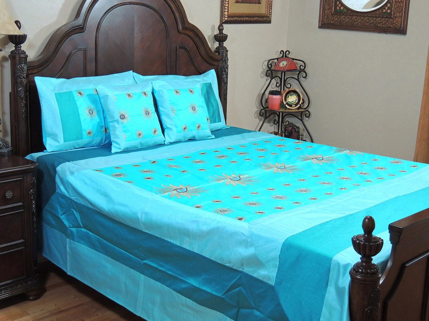 Electric Blue Surya Embroidered Bedspread Set Dupioni by