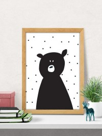 Bear print nursery wall art modern nursery decor cute