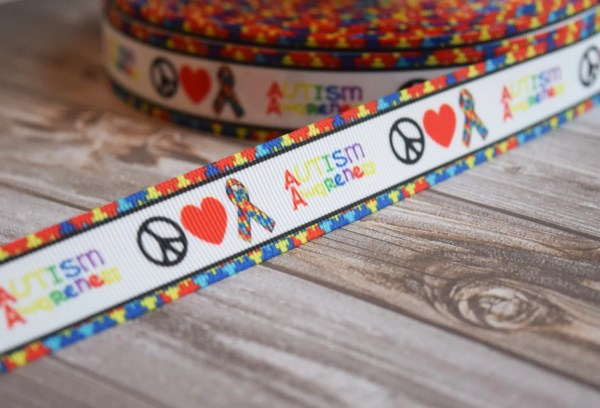 Peace Love Autism 7 8 Grosgrain Ribbon 3 5 Yards