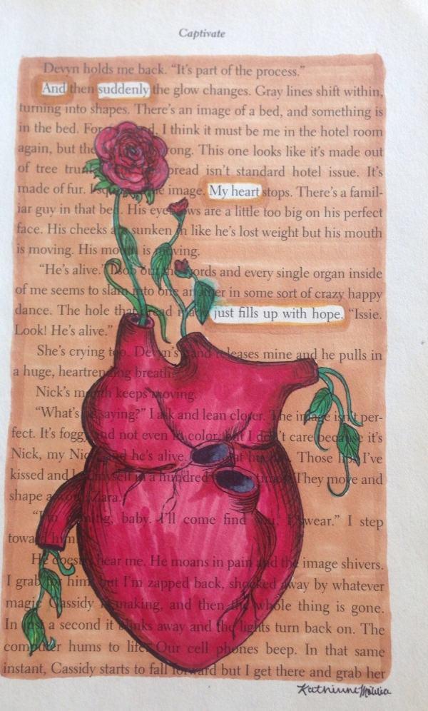 Hopeful Heart Blackout Poetry Book Art