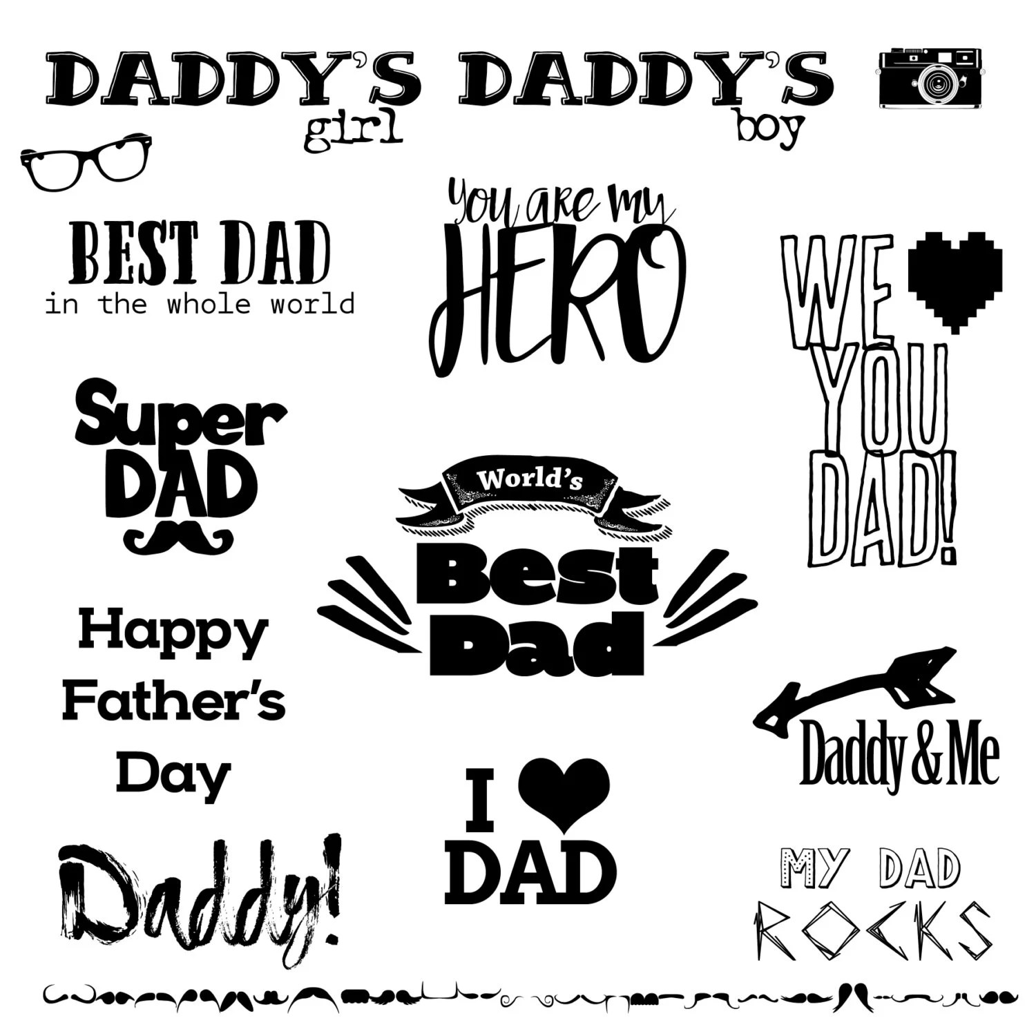 FATHER'S DAY WORDART, Photoshop Overlays, Text Overlay