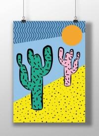 Cactus print Pop Art print Funky Abstract geometric Modern