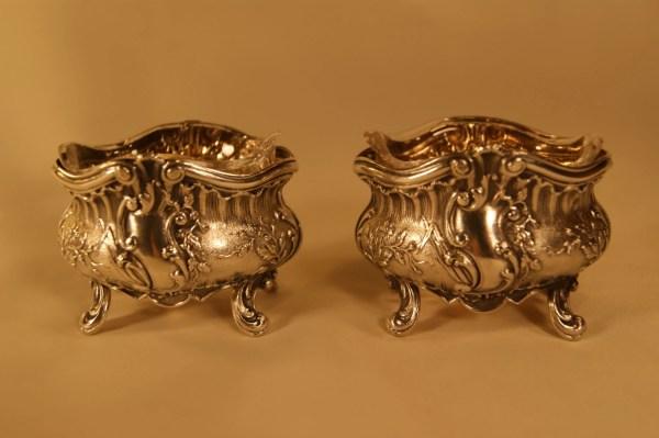 Antique French Sterling 950 Silver Salt Cellars Pair Set