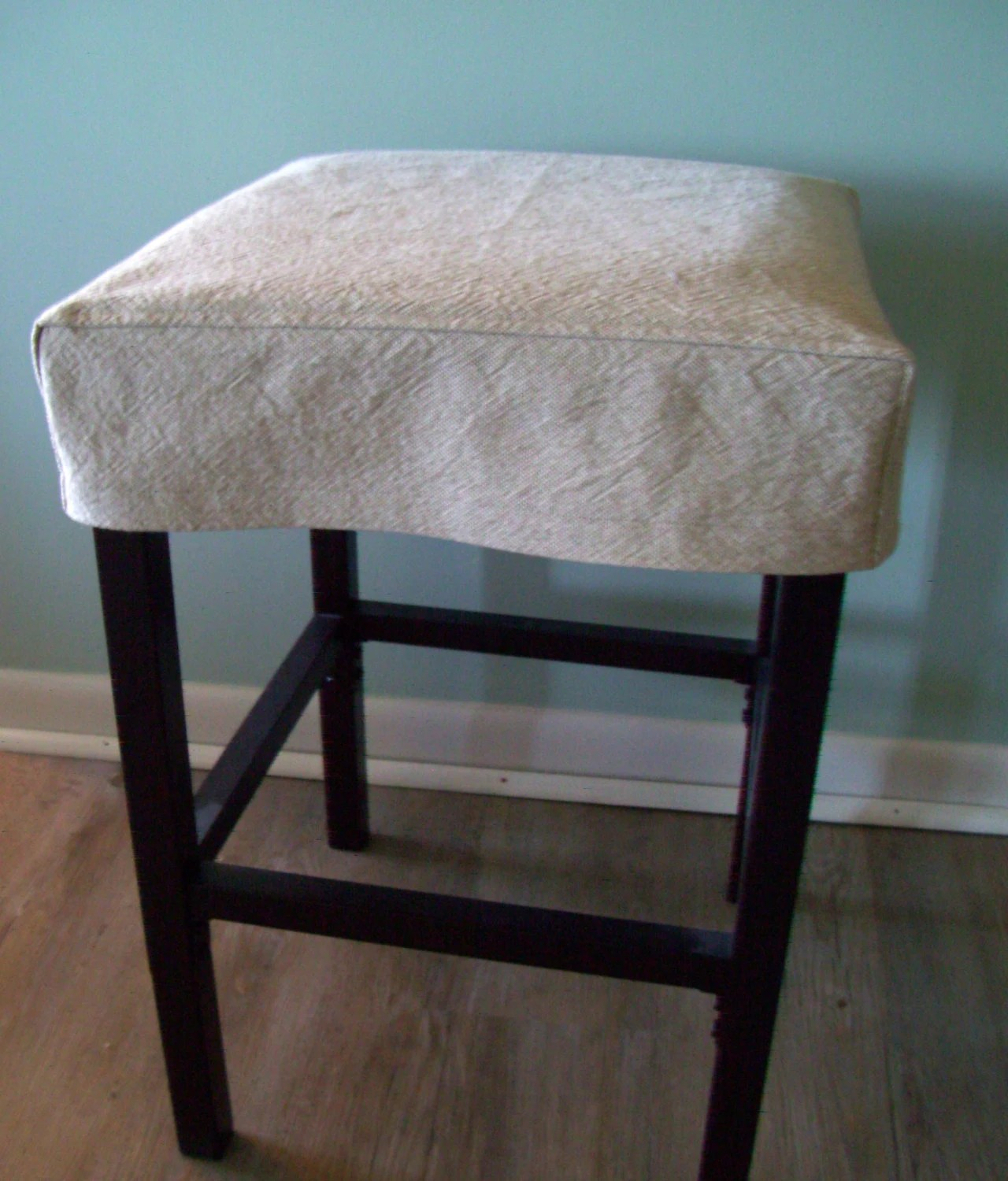 bar stool chair rung protectors white reclining salon square slipcover tan topstitched barstool cover