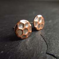 Embossed copper stud earrings copper studs disc earrings