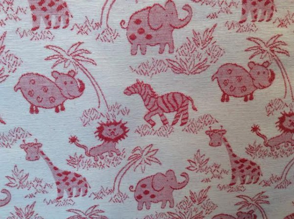 kids room ELEPHANT ZEBRA ANIMAL upholstery fabric red