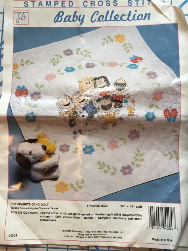 Vintage Charlie Brown Embroidery Kit Baby Quilt Peanuts