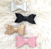 faux leather bows bow clips pigtail