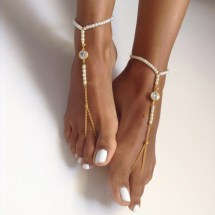Barefoot Sandals Crystal Stones Gold-plated Sibeldesign