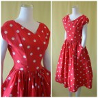 Reduced Adorable 1950s Sun Dress 50s Day Red