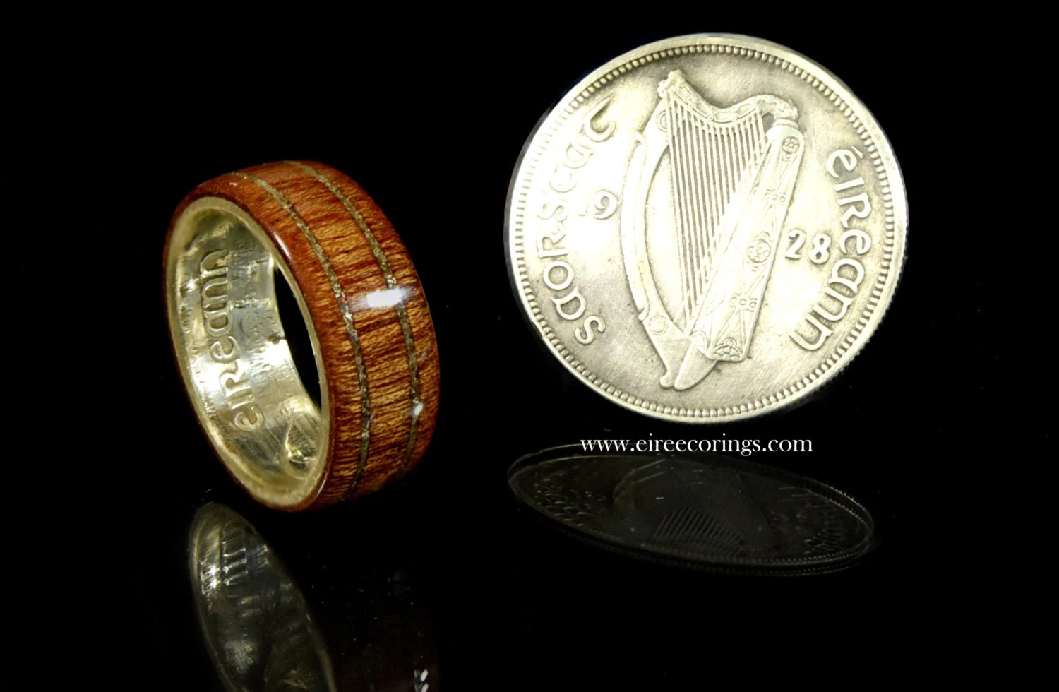 Wood Wedding Band Rings For Men Featuring The Irish Silver