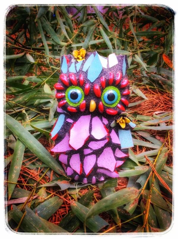 Mosaic Owl Garden Art Sculpture Cherry Bomb