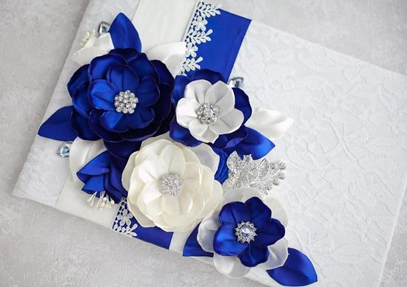 Royal Blue Wedding guest book Custom order by TatyanaAgulina