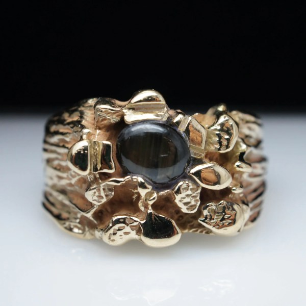 Vintage Mens Black Star Sapphire Ring In 14k Yellow Gold