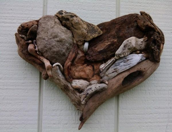Driftwood Heart Art Wall Hanging