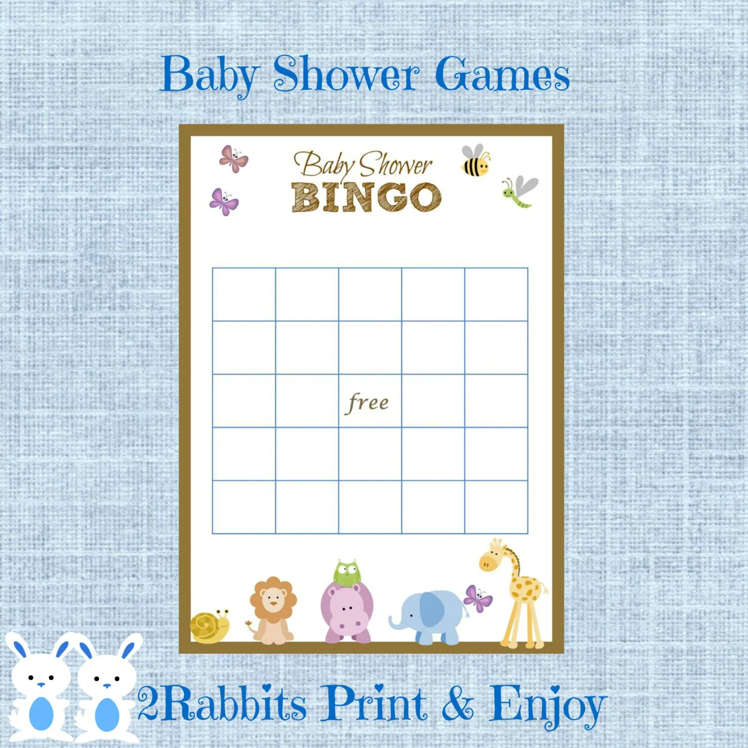 Safari Jungle Animal Baby Shower Bingo T Cards Game Blank