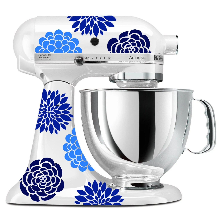 Blue Flower Mixer Decals Floral Kitchenaid Stand Up Mixer