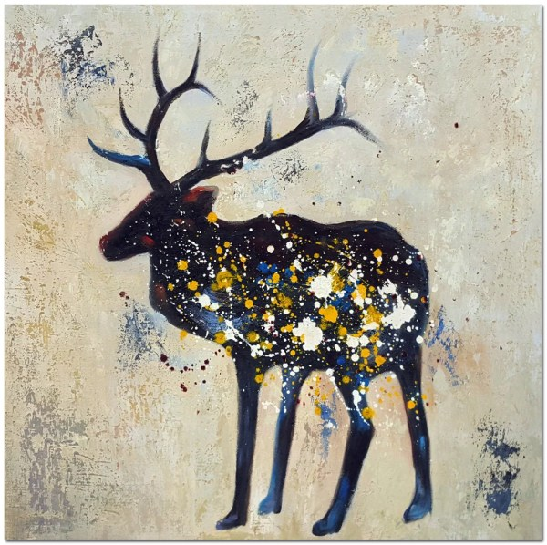Signed Hand Painted Abstract Deer Painting Canvas Artist