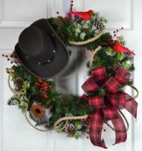 Cowboy Christmas Winter Wreath Christmas Front Door Wreath