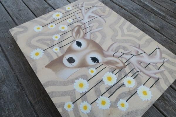 Original Hand Painted Deer Fawn Trippy Art Surreal
