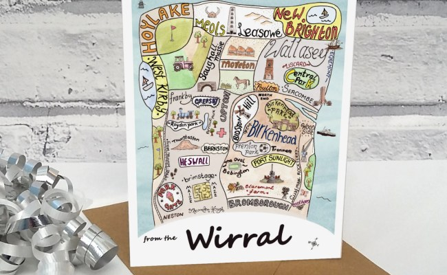 Wirral Birthday Card Wirral Map Illustrated Wirral Print Gift