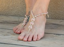 Rose Pink Wedding Sandals Barefoot Bride