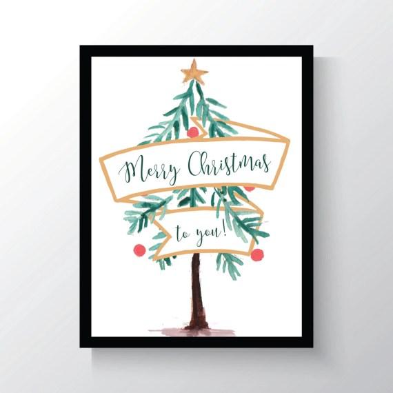 Merry Christmas To You - Tree - Christmas - Watercolor - Vintage Christmas Decor - Wall Print - Decor - Winter Decor - 8x10