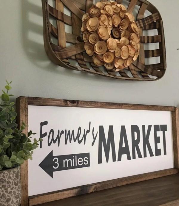 Farmers Market Rustic Sign Fixer Upper Style Kitchen Decor Farmhouse Arrow